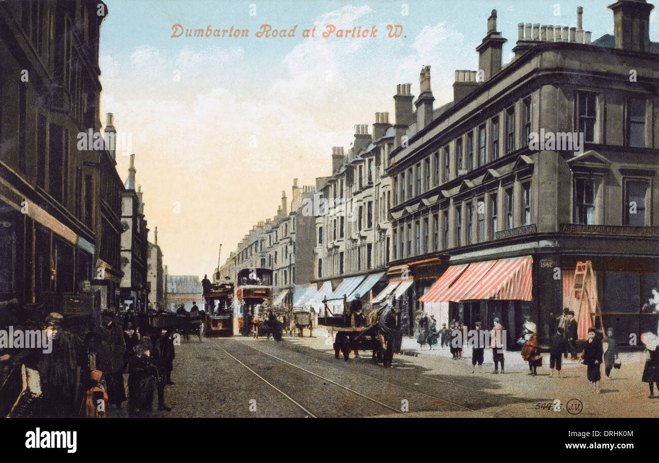 Dumbarton Road, Partick looking West - Glasgow - Stock Image