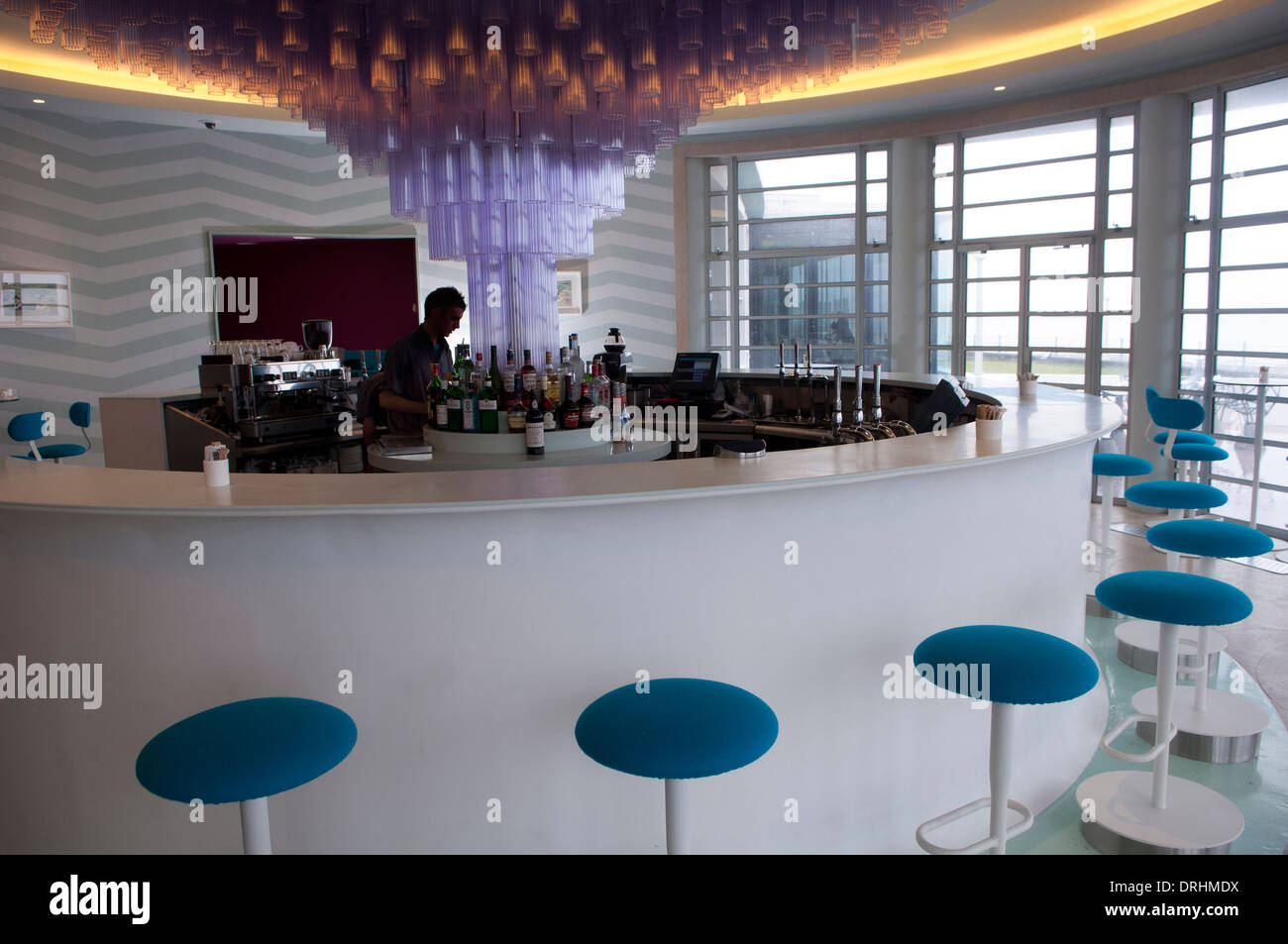 A bar at the midland hotel is a streamline modern art deco