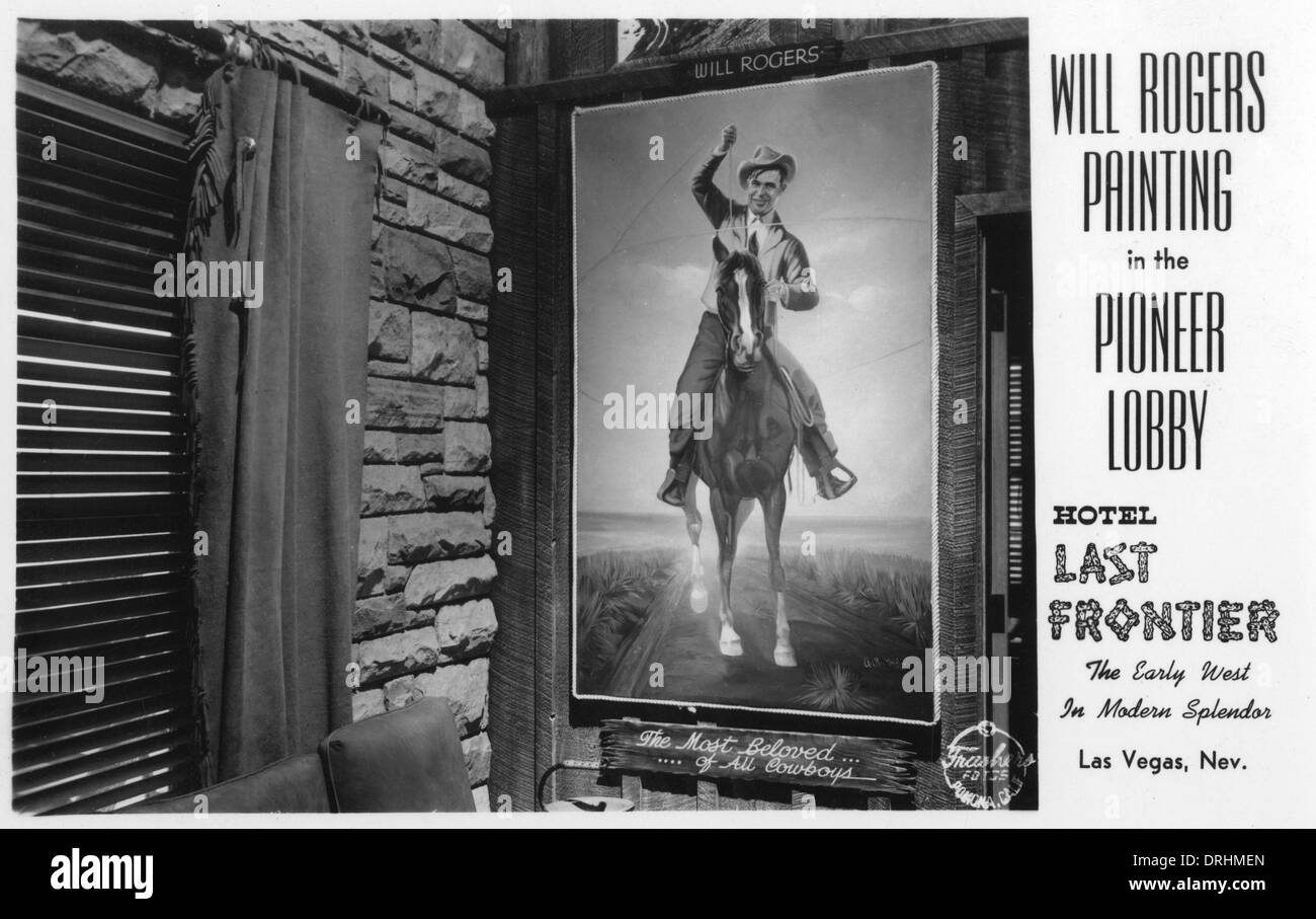Will Rogers painting, Hotel Last Frontier, Las Vegas, USA Stock Photo
