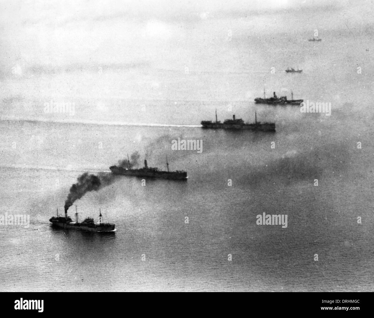 Convoy of British ships, WW1 - Stock Image