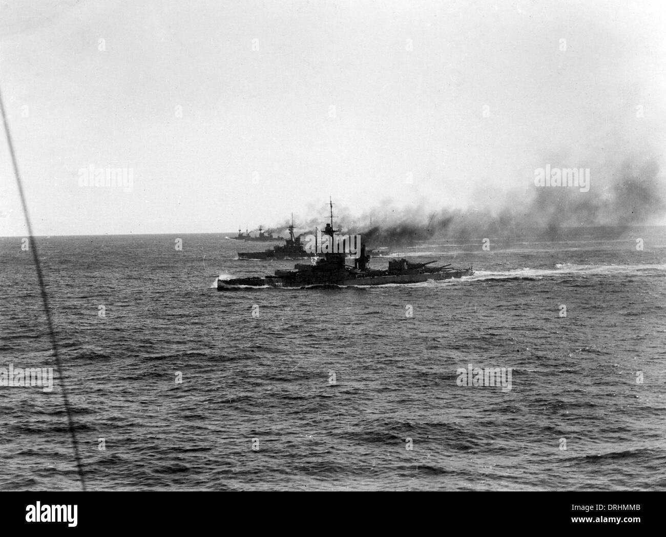 British battleships at sea, WW1 - Stock Image