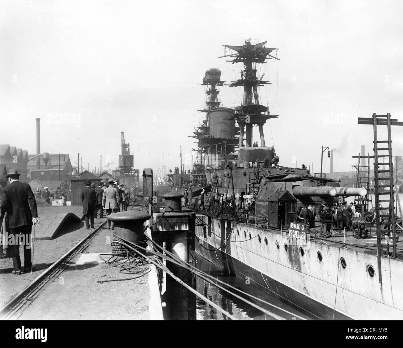 HMS Courageous, British battlecruiser, WW1 - Stock Image
