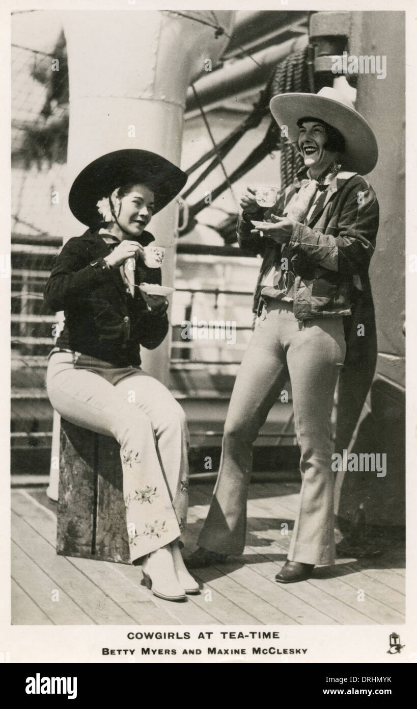 Betty Myers and Maxine McClesky, cowgirls - Stock Image