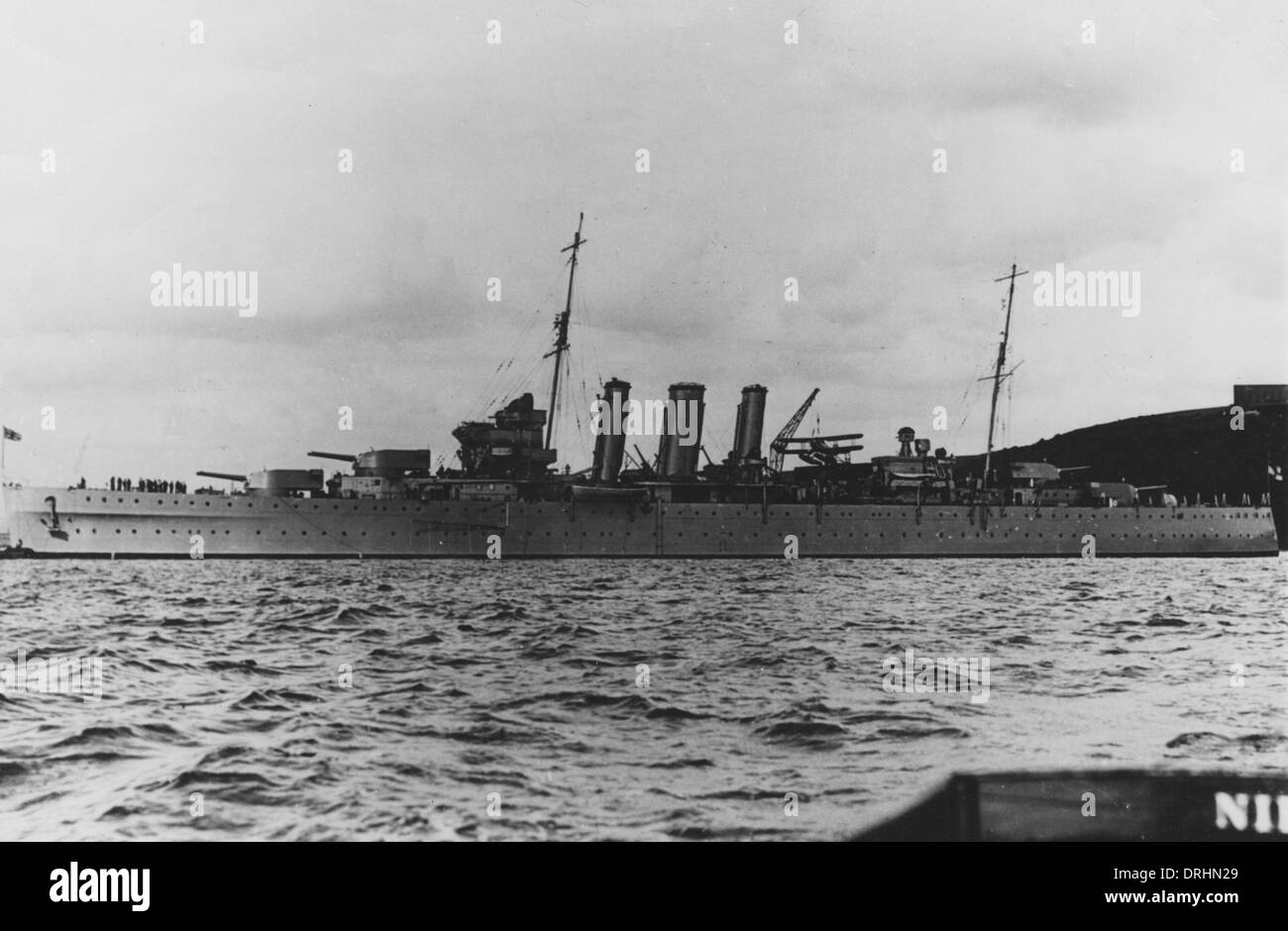HMS Norfolk, British heavy cruiser, WW2 - Stock Image