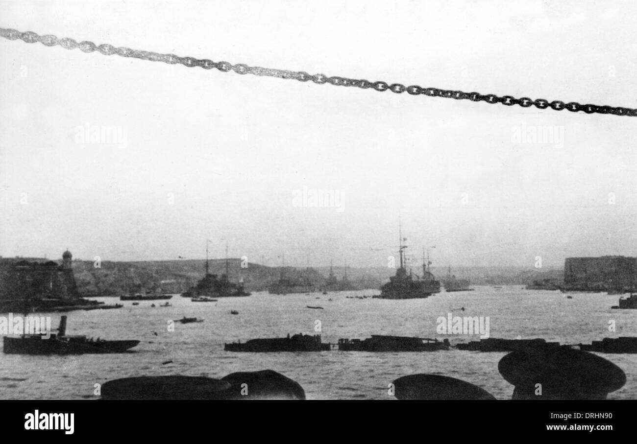 Ships in the harbour at Valletta, Malta, WW1 - Stock Image