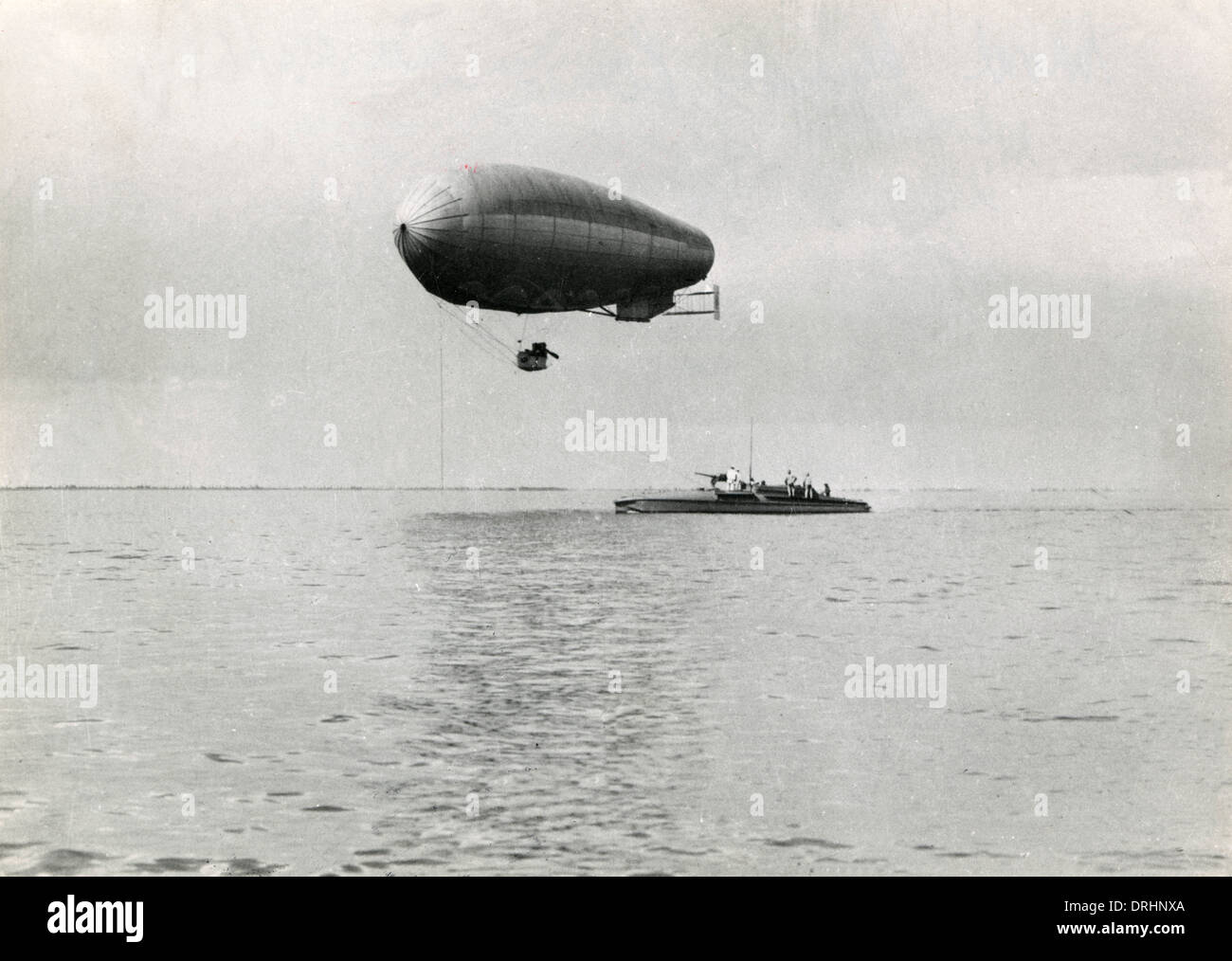 Italian MAS boat at sea with balloon attached - Stock Image