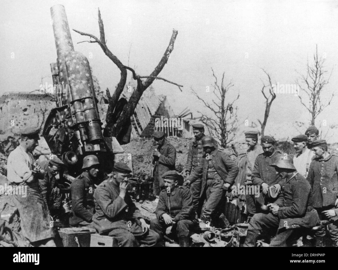 German 15cm howitzer, Picardy, France, WW1 Stock Photo
