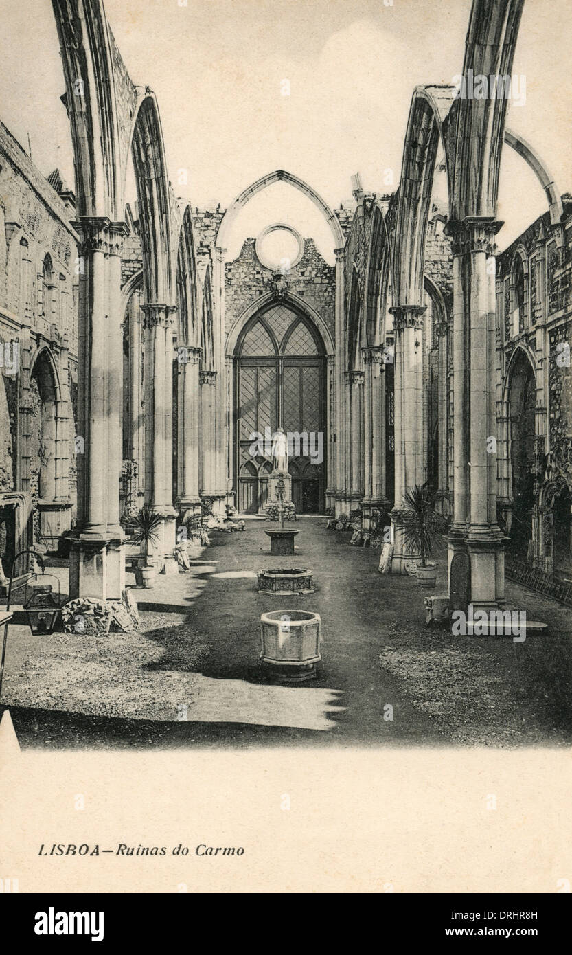 Ruins of the Gothic Church of the Carmo - Lisbon - Stock Image