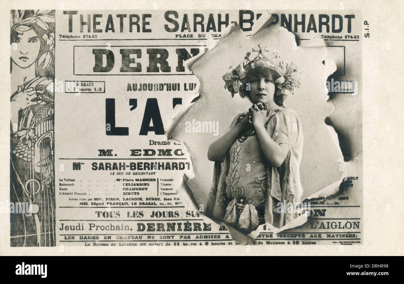 Sarah Bernhardt - Publicity for her role in L'Aiglon - Stock Image