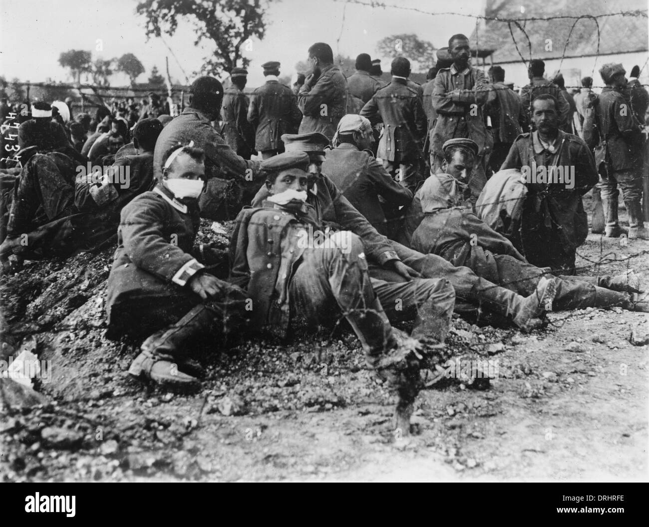 Wounded German prisoners of war, WW1 Stock Photo