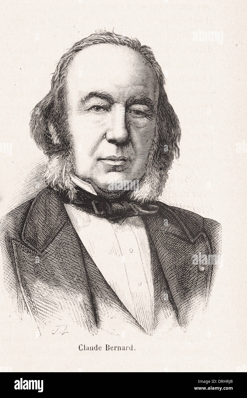 Portrait of Claude Bernard - French engraving XIX th century - Stock Image