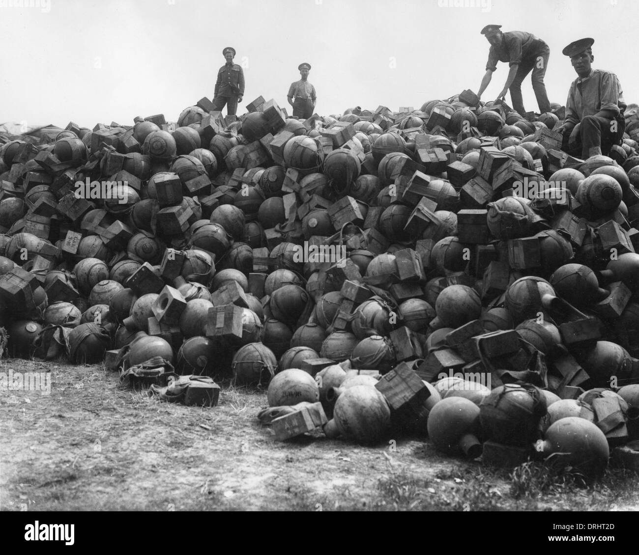 Supply dump of trench mortar ammunition, France, WW1 - Stock Image