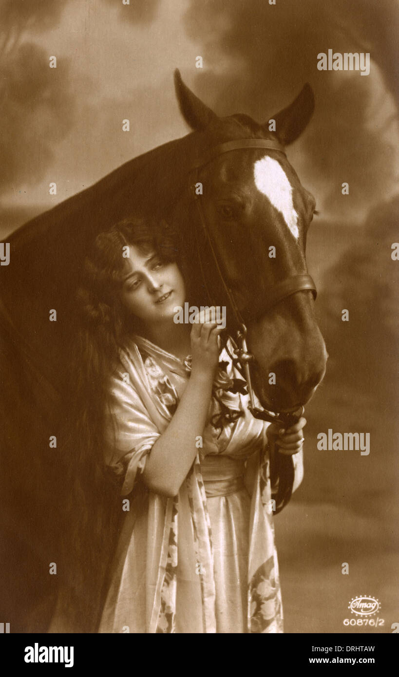 A Young Girl and her favourite horse - Stock Image