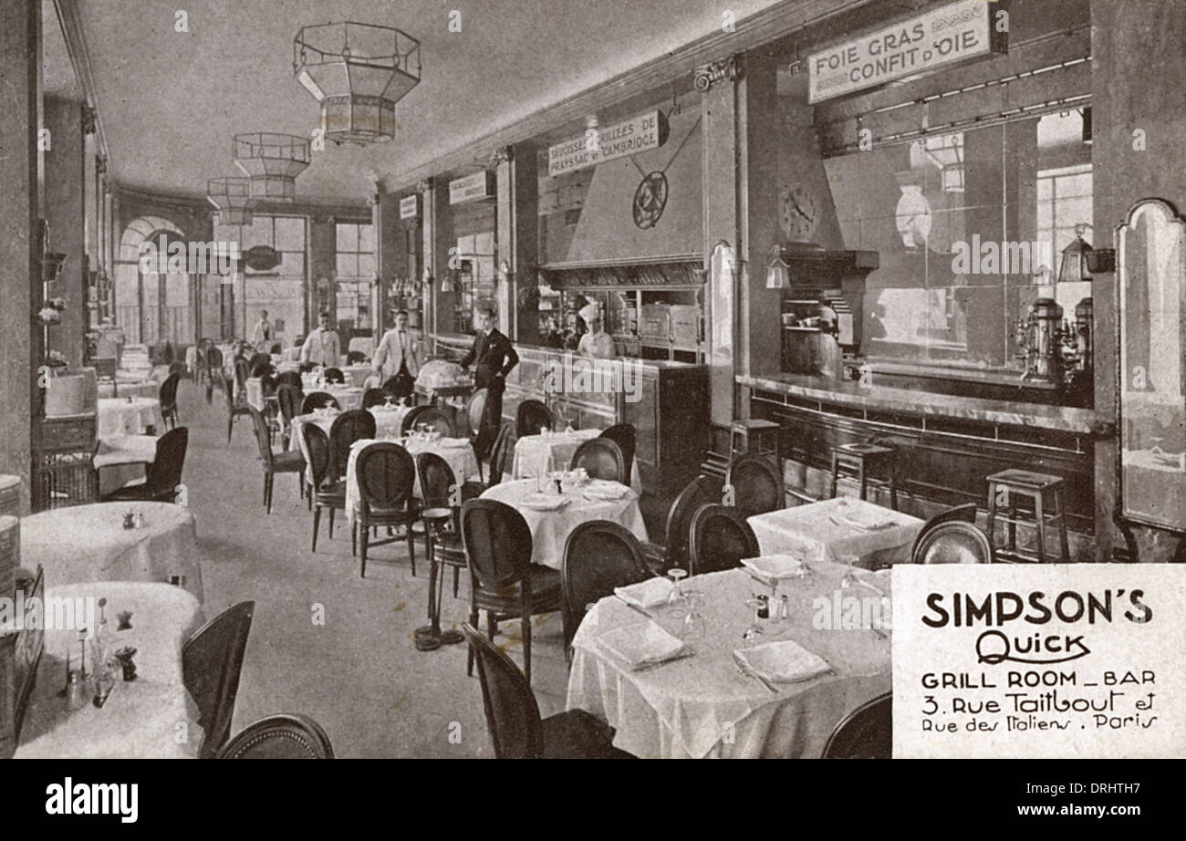 Simpson's Quick Grill Room and Bar - Paris, France - Stock Image