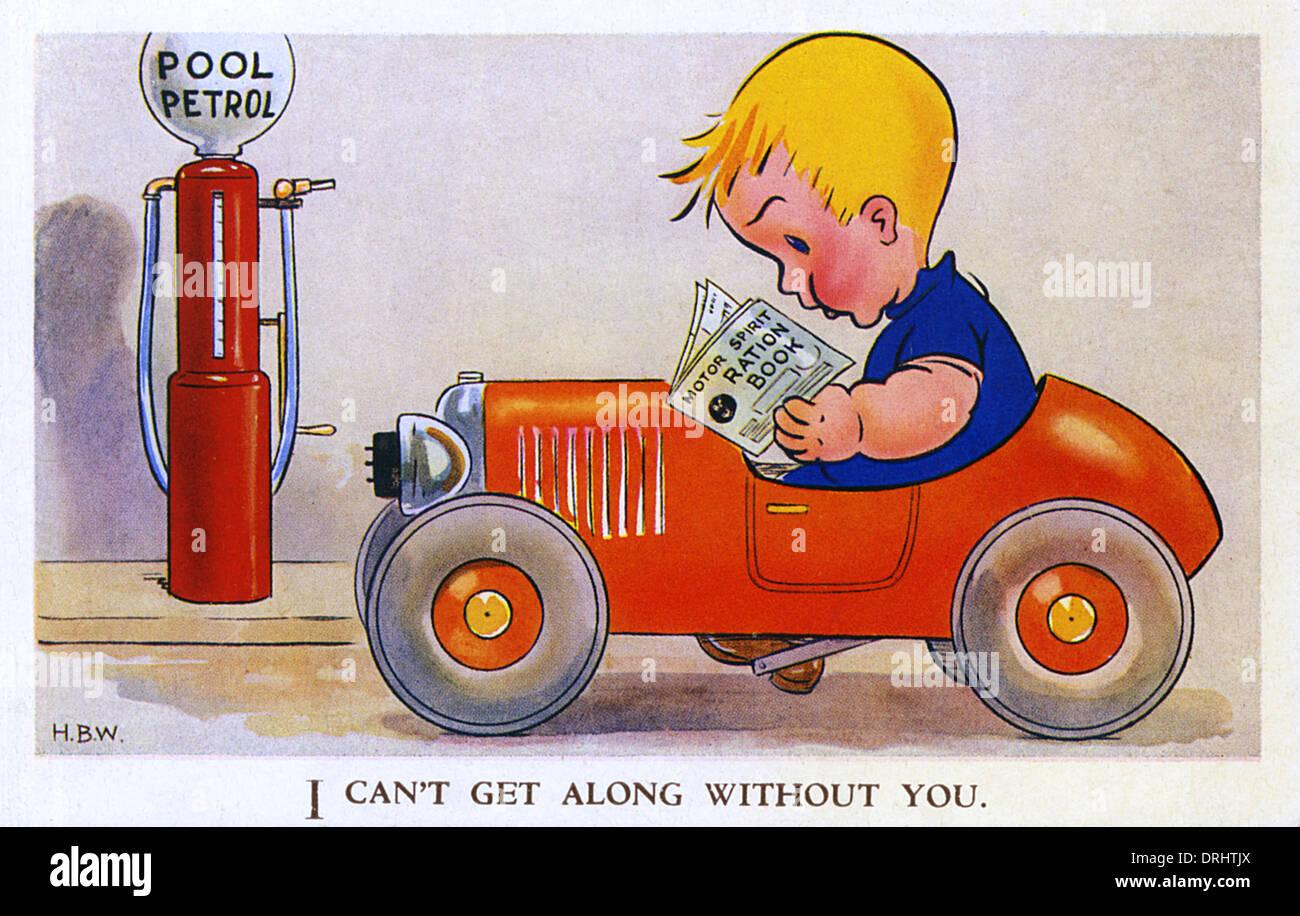 WW2 - Rationing of petrol - Stock Image