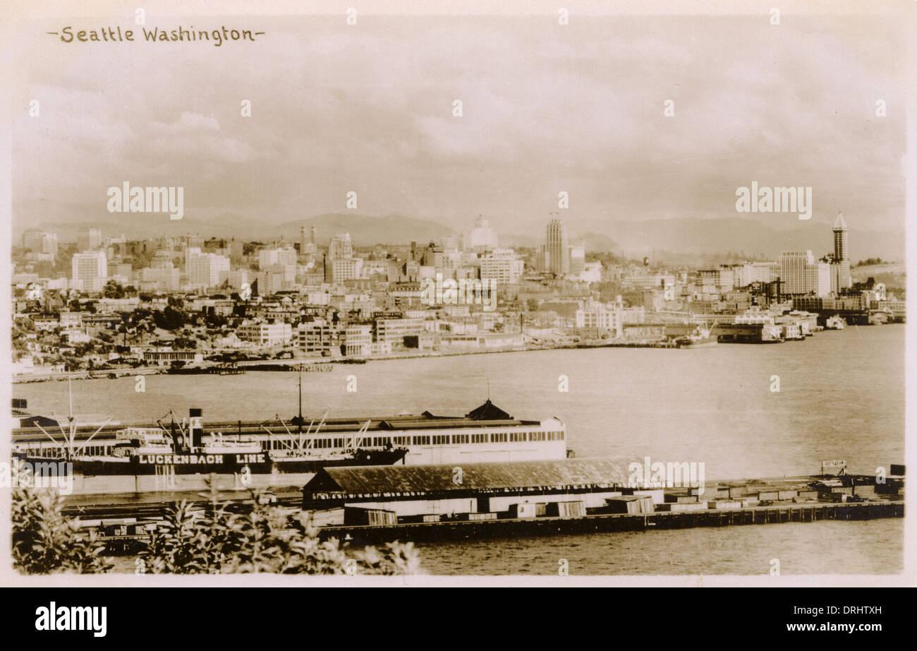 Photographic Panorama of Seattle, Washington, USA - Stock Image