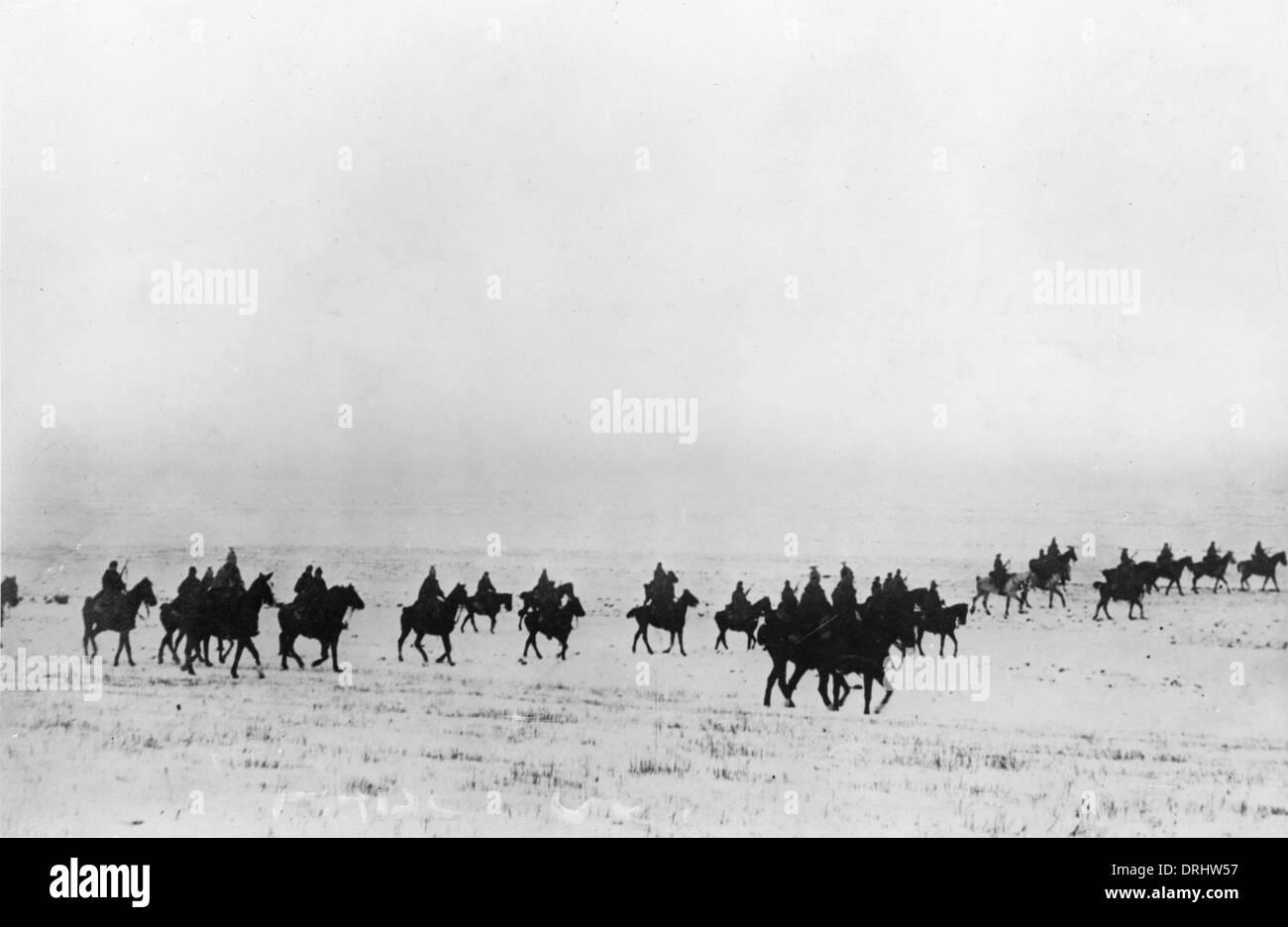 Austrian cavalry in the snow, WW1 - Stock Image