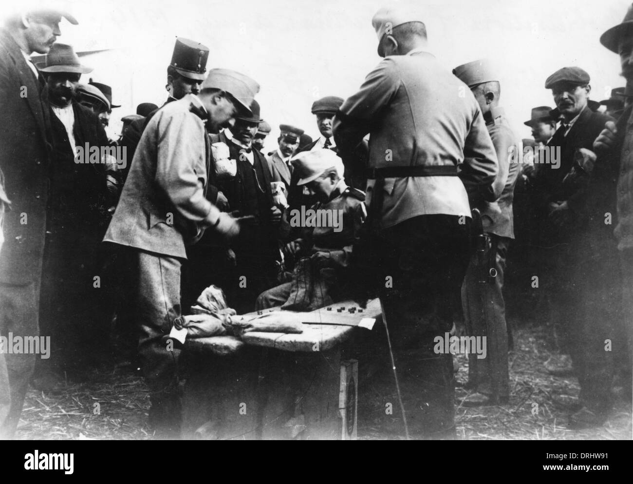 Austrian army receiving their first pay, WW1 - Stock Image