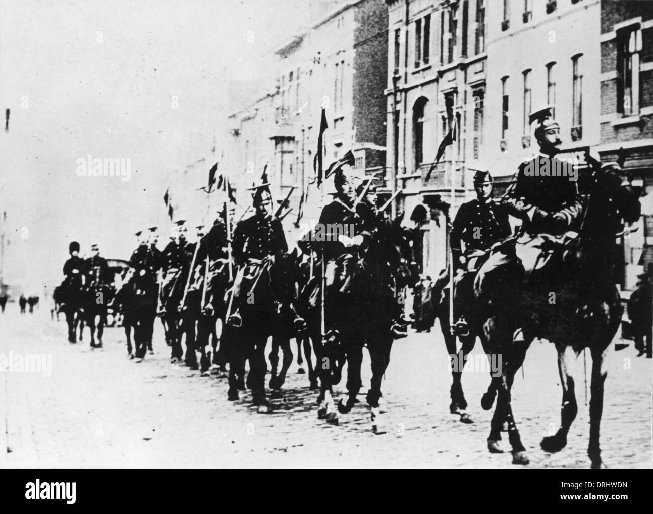 Belgian cavalry in a Brussels street, WW1 - Stock Image