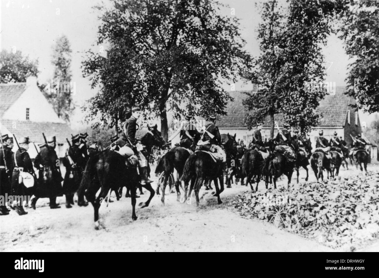 Belgian infantry and cavalry retreat from Antwerp, WW1 - Stock Image