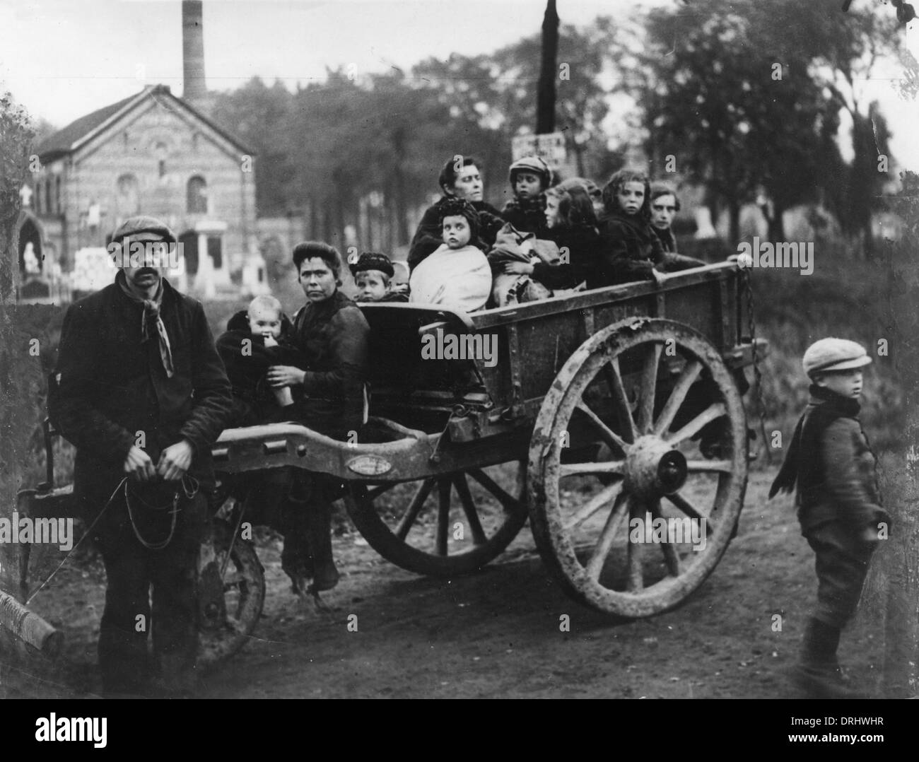 Civilian refugees from Ypres, Belgium, WW1 - Stock Image