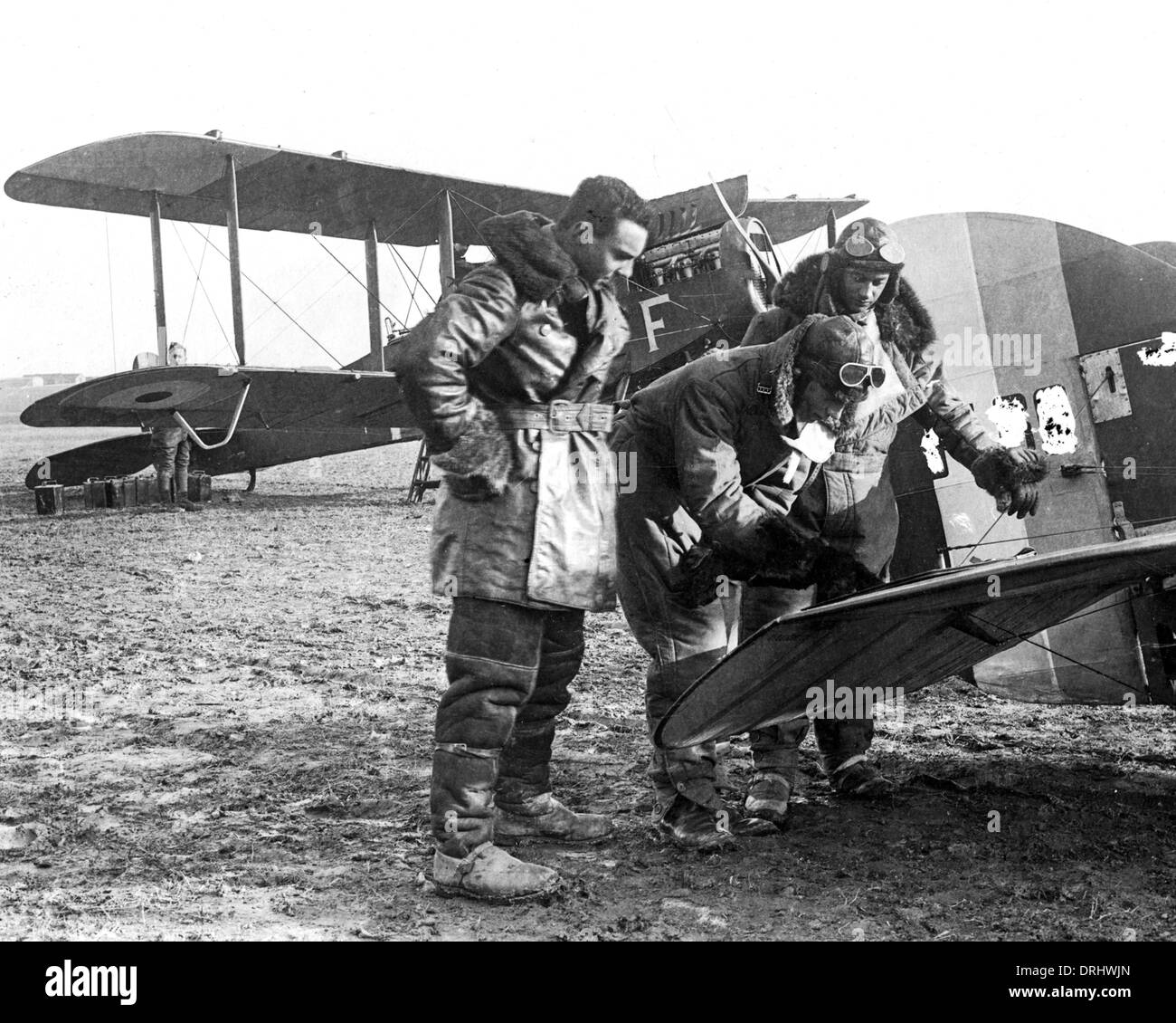 British airmen planning attack, Western Front, WW1 - Stock Image
