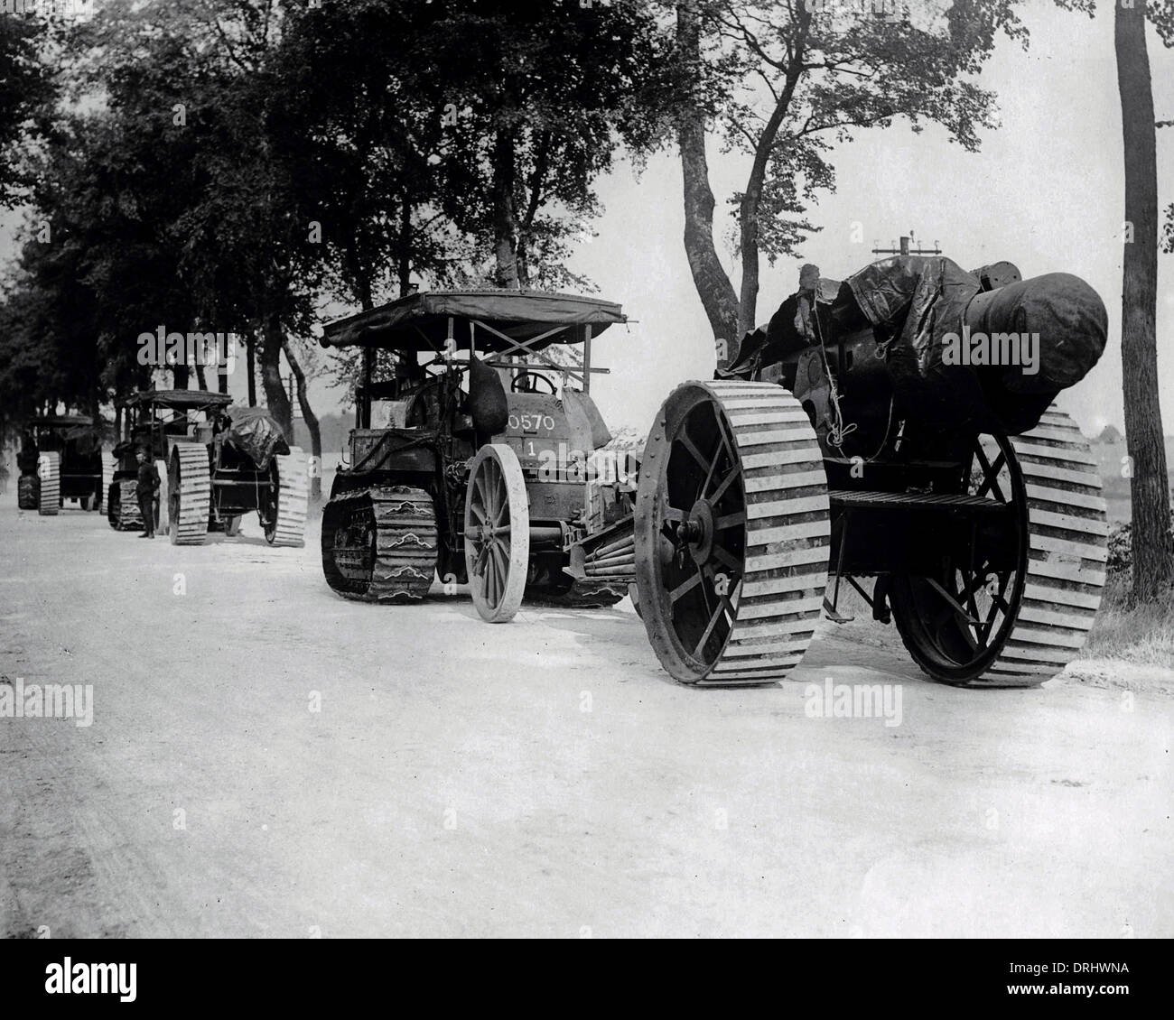 Big guns on their way to the Front, WW1 - Stock Image