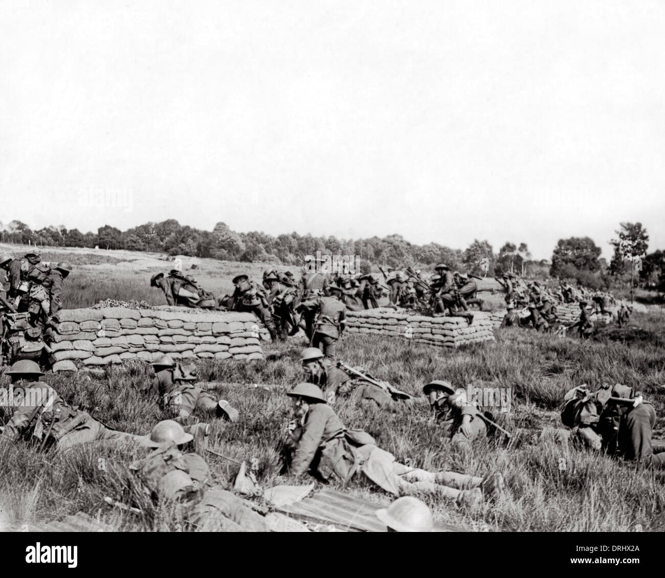 British troops on training exercise, Western Front, WW1 - Stock Image