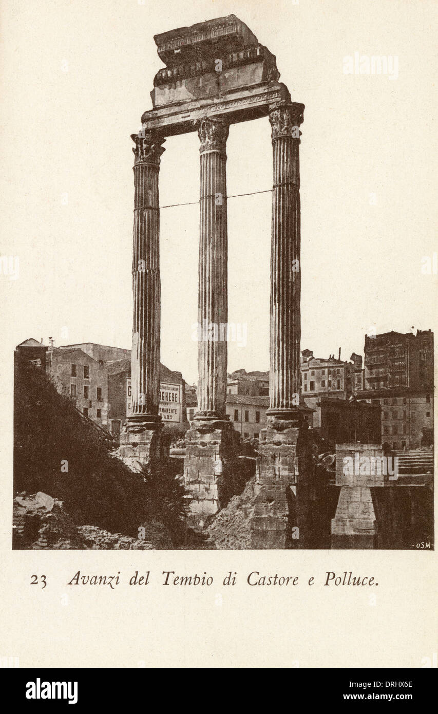 The Temple of Castor and Pollux - Rome, Italy - Stock Image