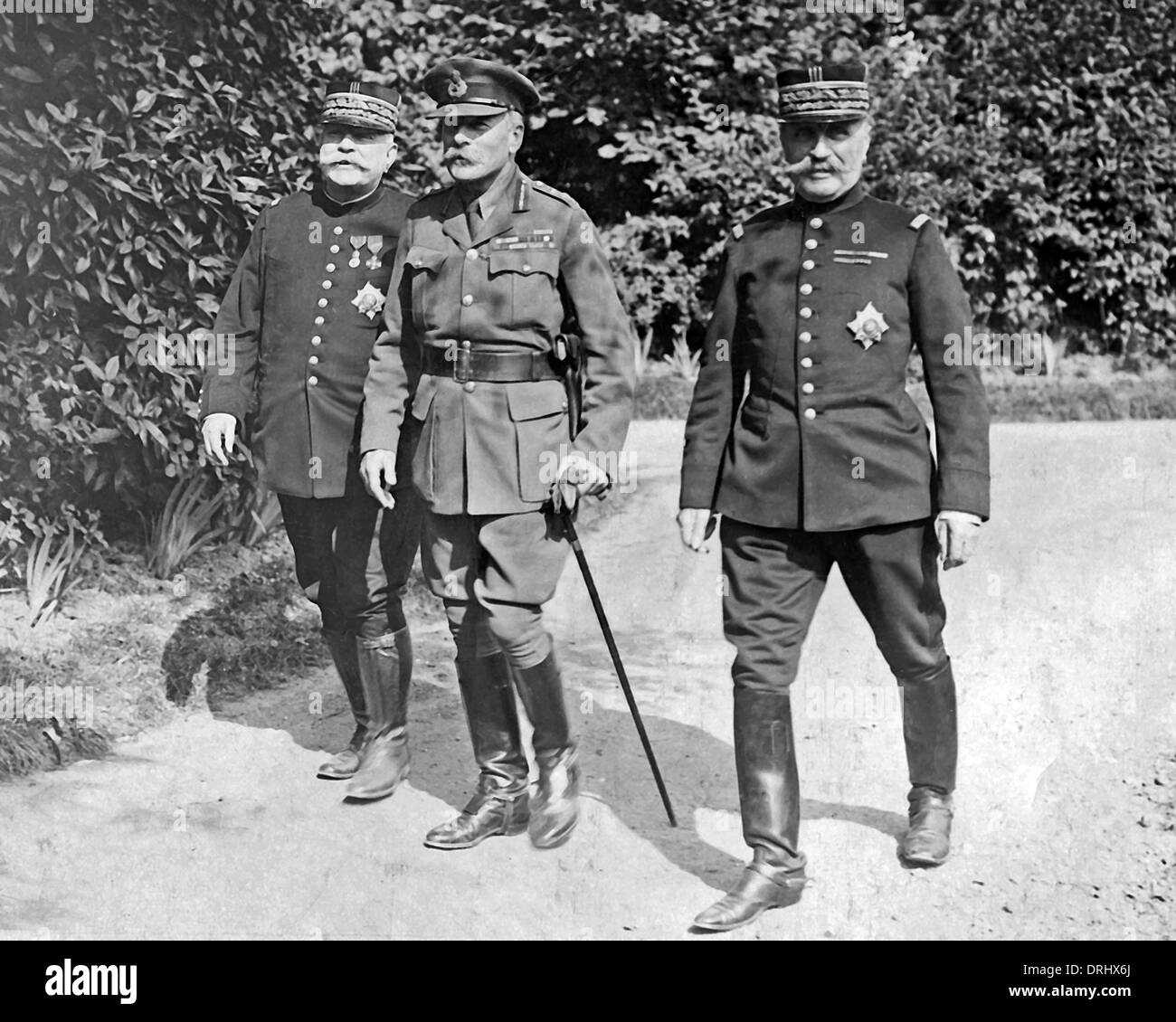 Sir Douglas Haig with Generals Joffre and Foch, WW1 - Stock Image