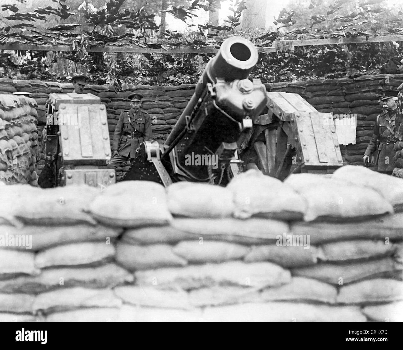 King George V visiting Western Front, WW1 - Stock Image