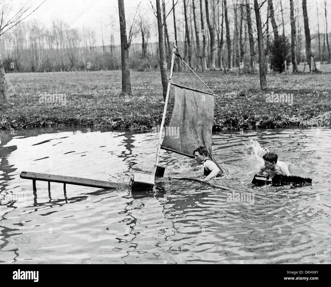 British soldiers in water during rest break, WW1 - Stock Image