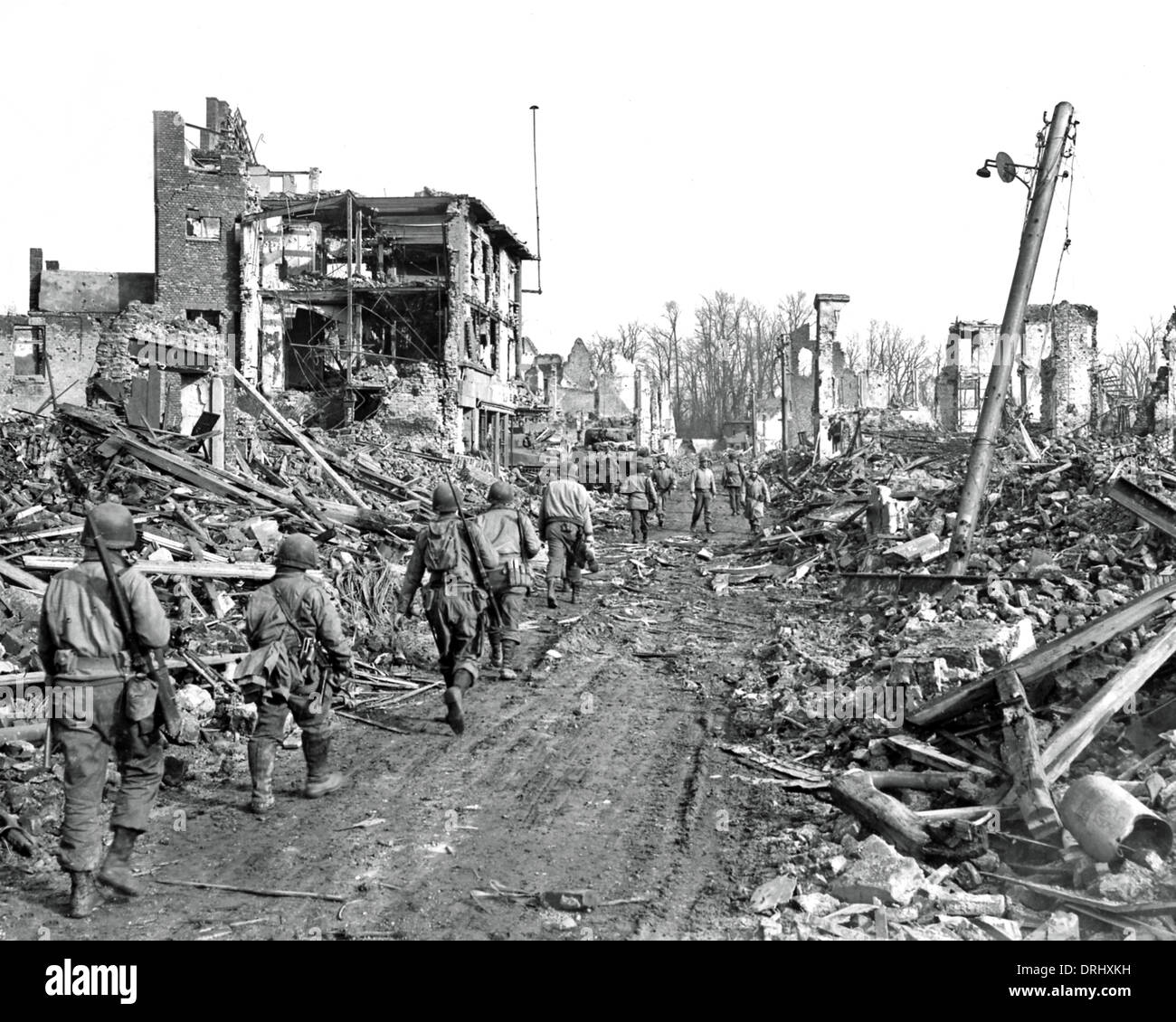 Devastation at Julich, Germany, WW2 - Stock Image