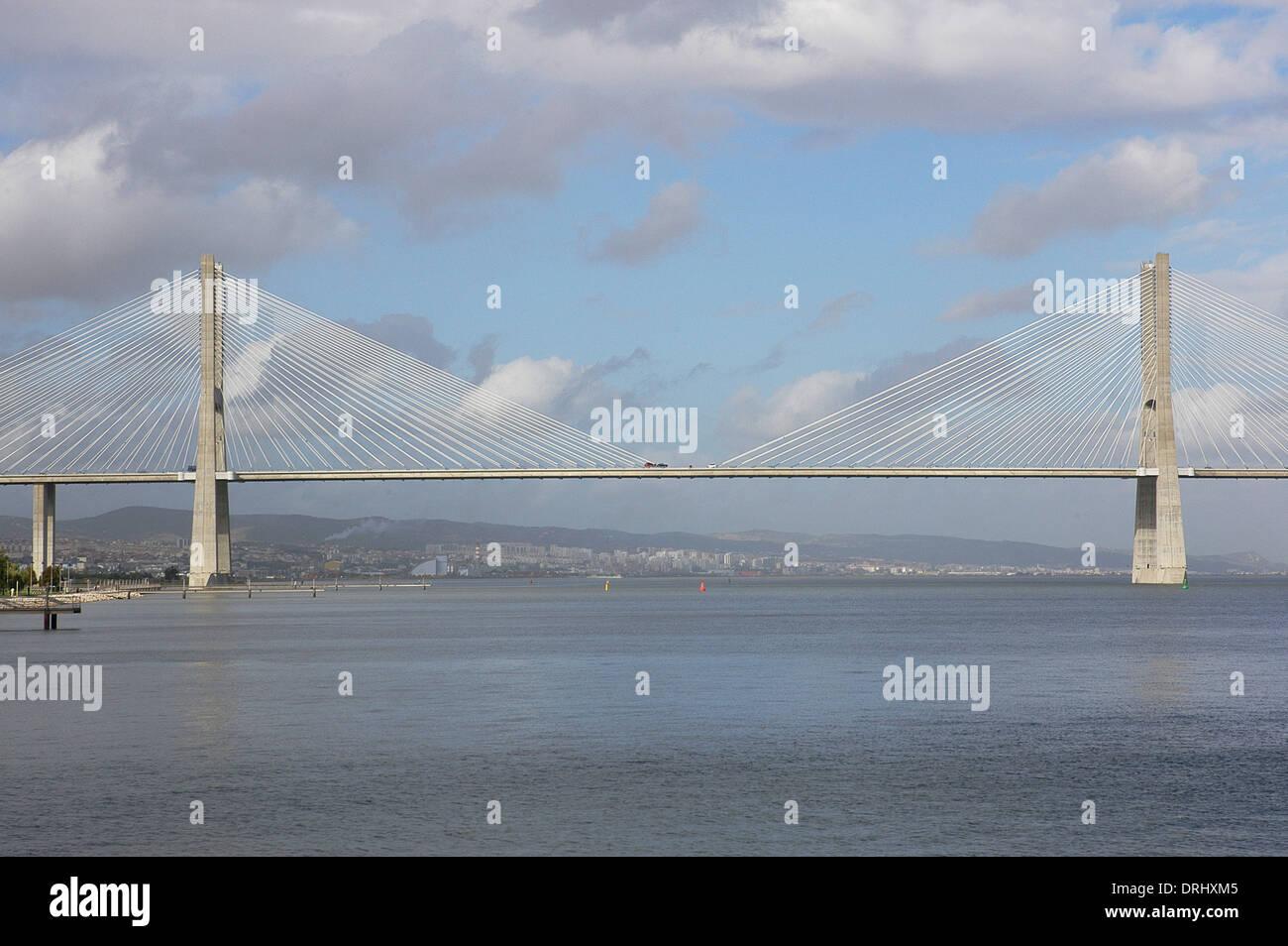 Portugal. Lisbon. The Vasco da Gama Bridge. Built in 1995. - Stock Image