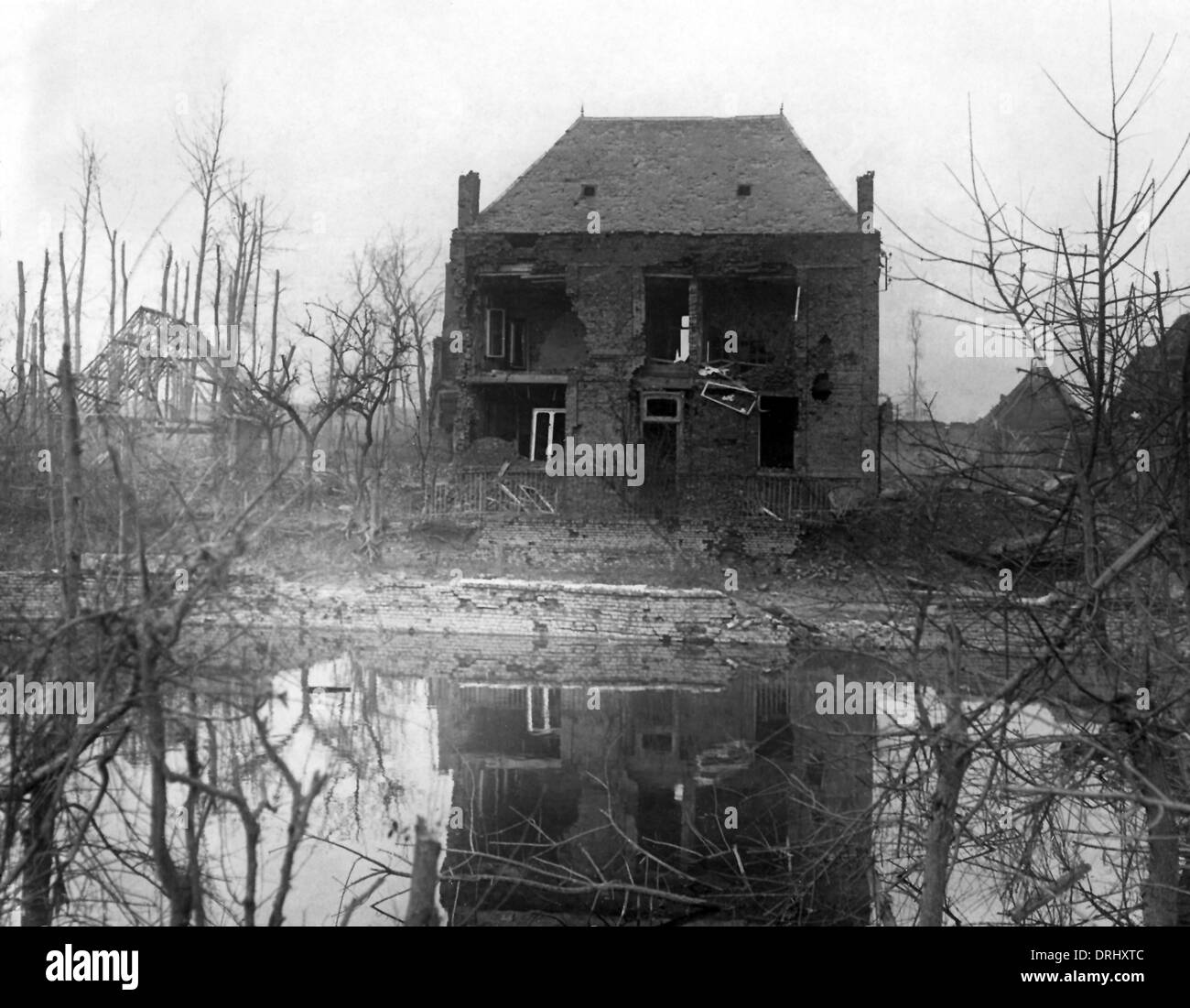Ruined house at Le Barque, Western Front, WW1 - Stock Image