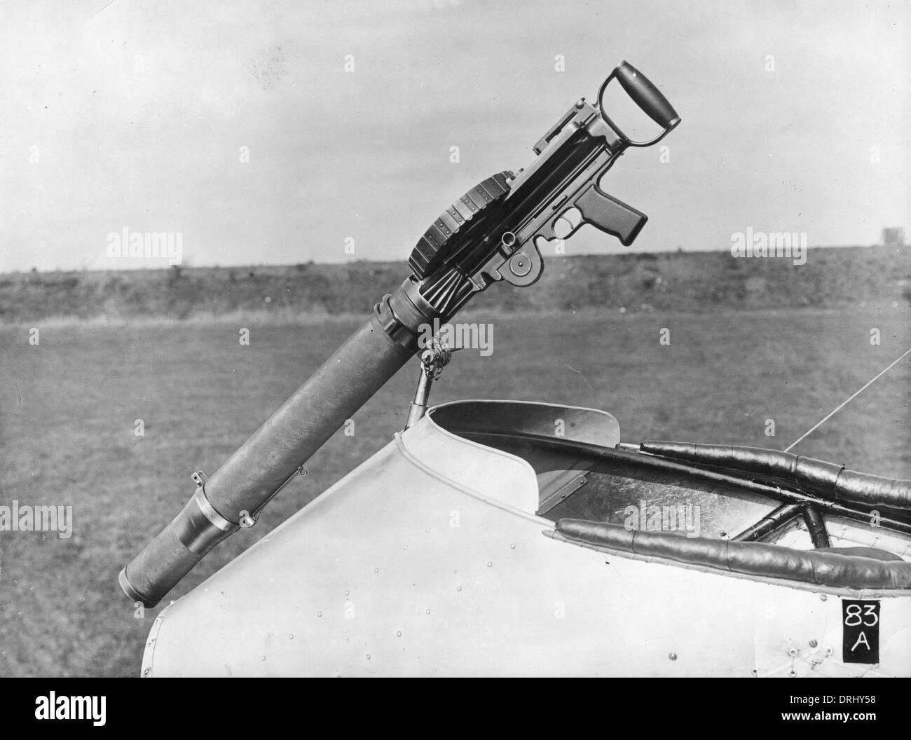 De Havilland 2 plane with Lewis gun, WW1 - Stock Image