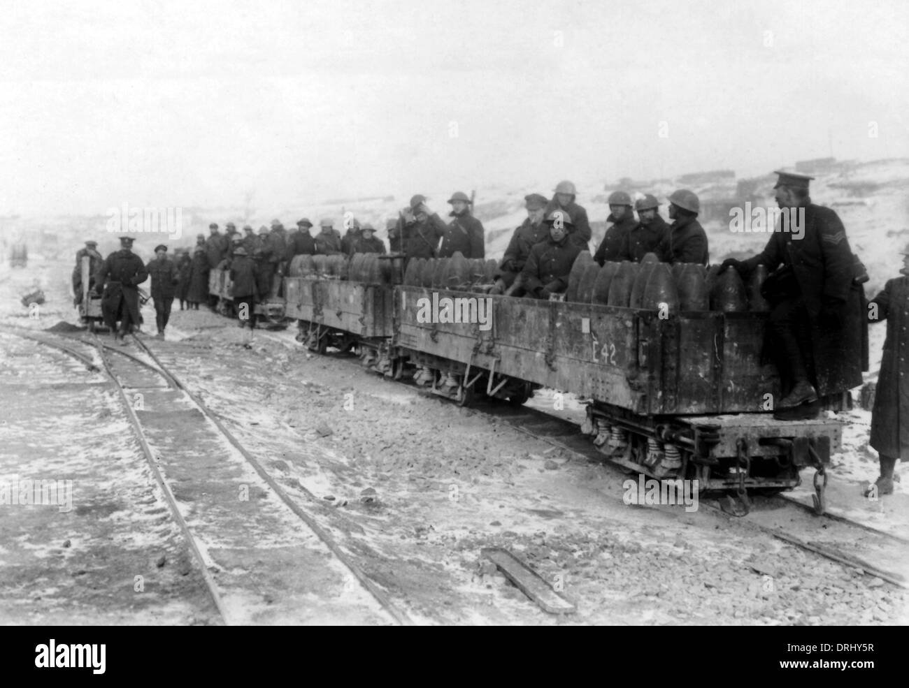 Allied soldiers on small ammunition train, WW1 - Stock Image