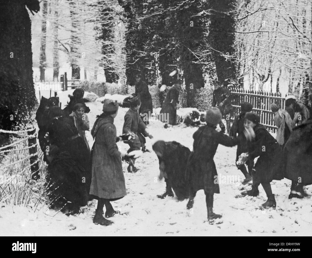 Snowballing on Western Front, France, WW1 - Stock Image