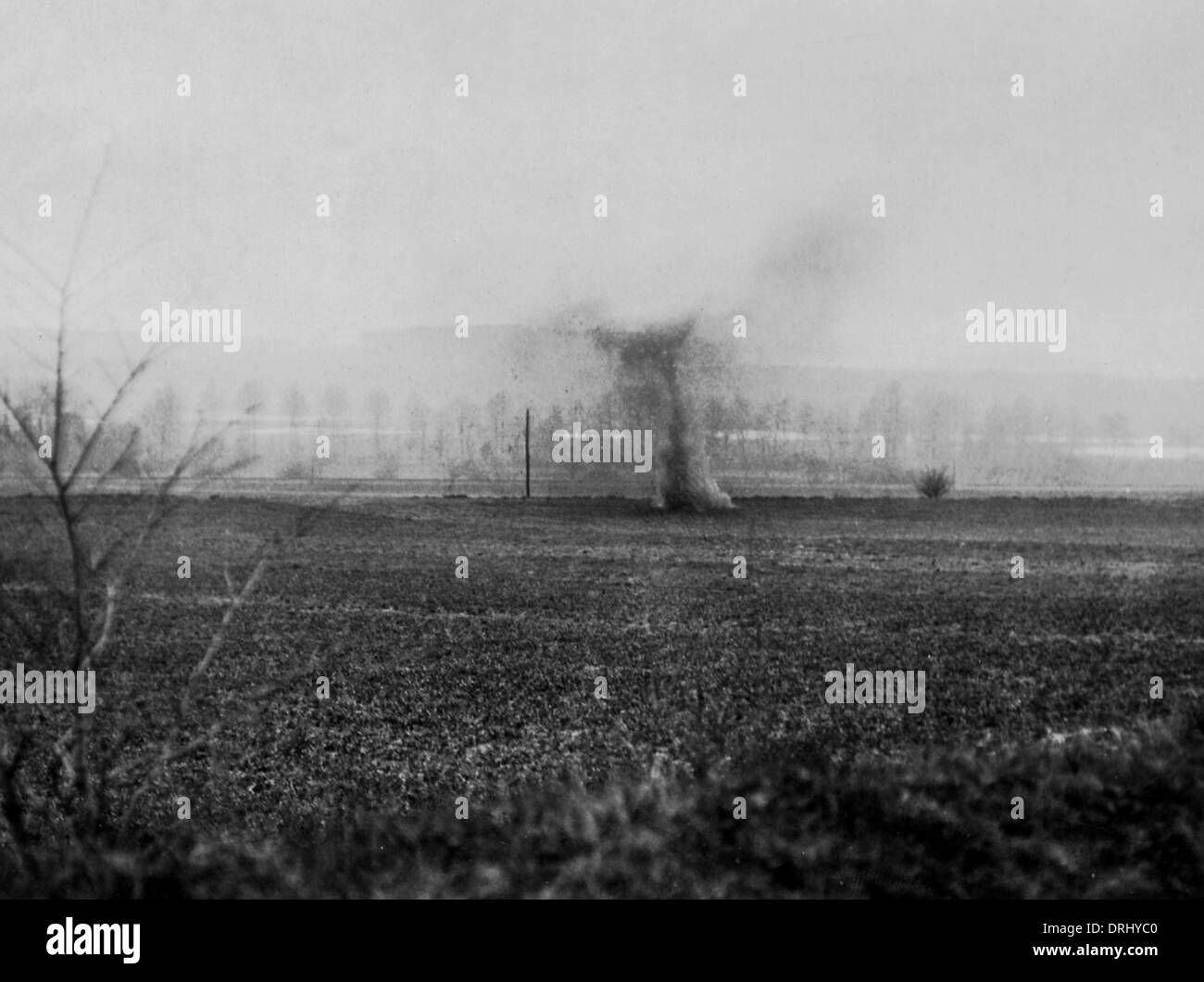 German shell exploding, Western Front, France, WW1 - Stock Image