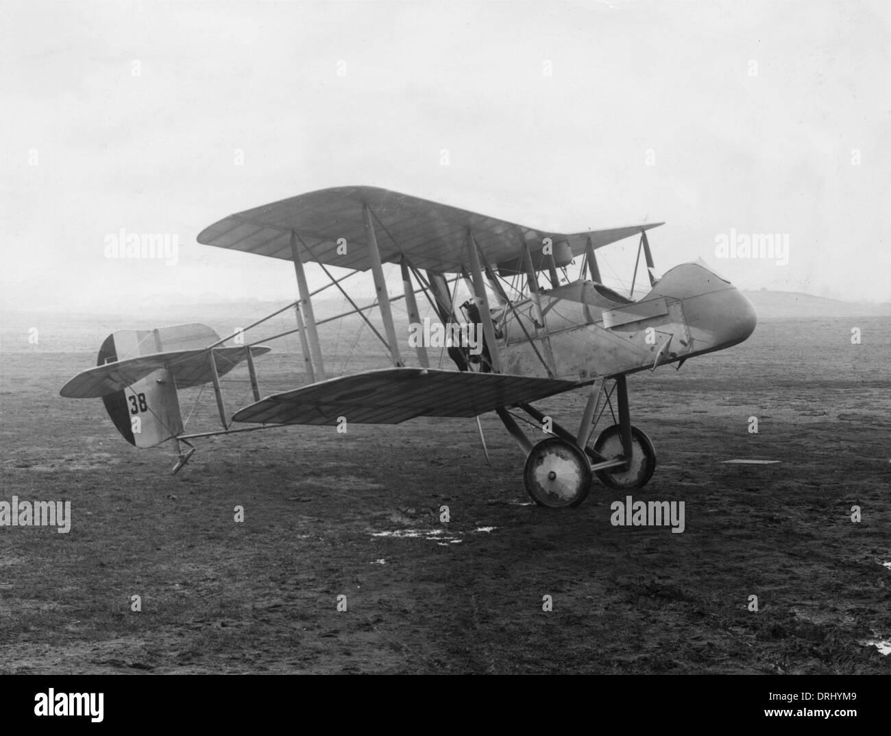 Airco DH2 De Havilland biplane on an airfield, WW1 - Stock Image