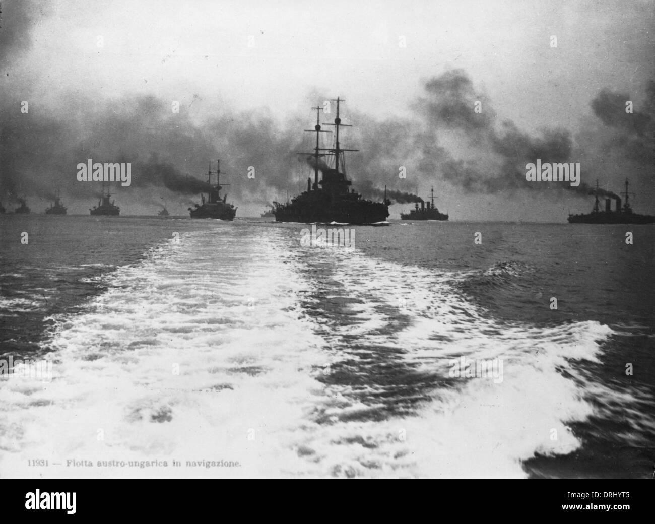 Austro-Hungarian fleet at sea, WW1 - Stock Image