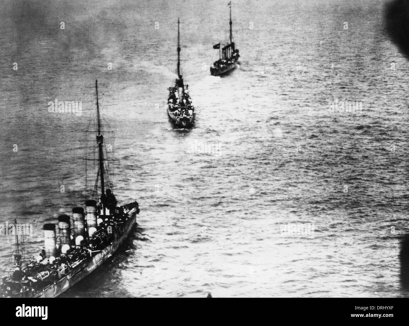 Austrian battleships after Otranto Barrage, Adriatic, WW1 - Stock Image