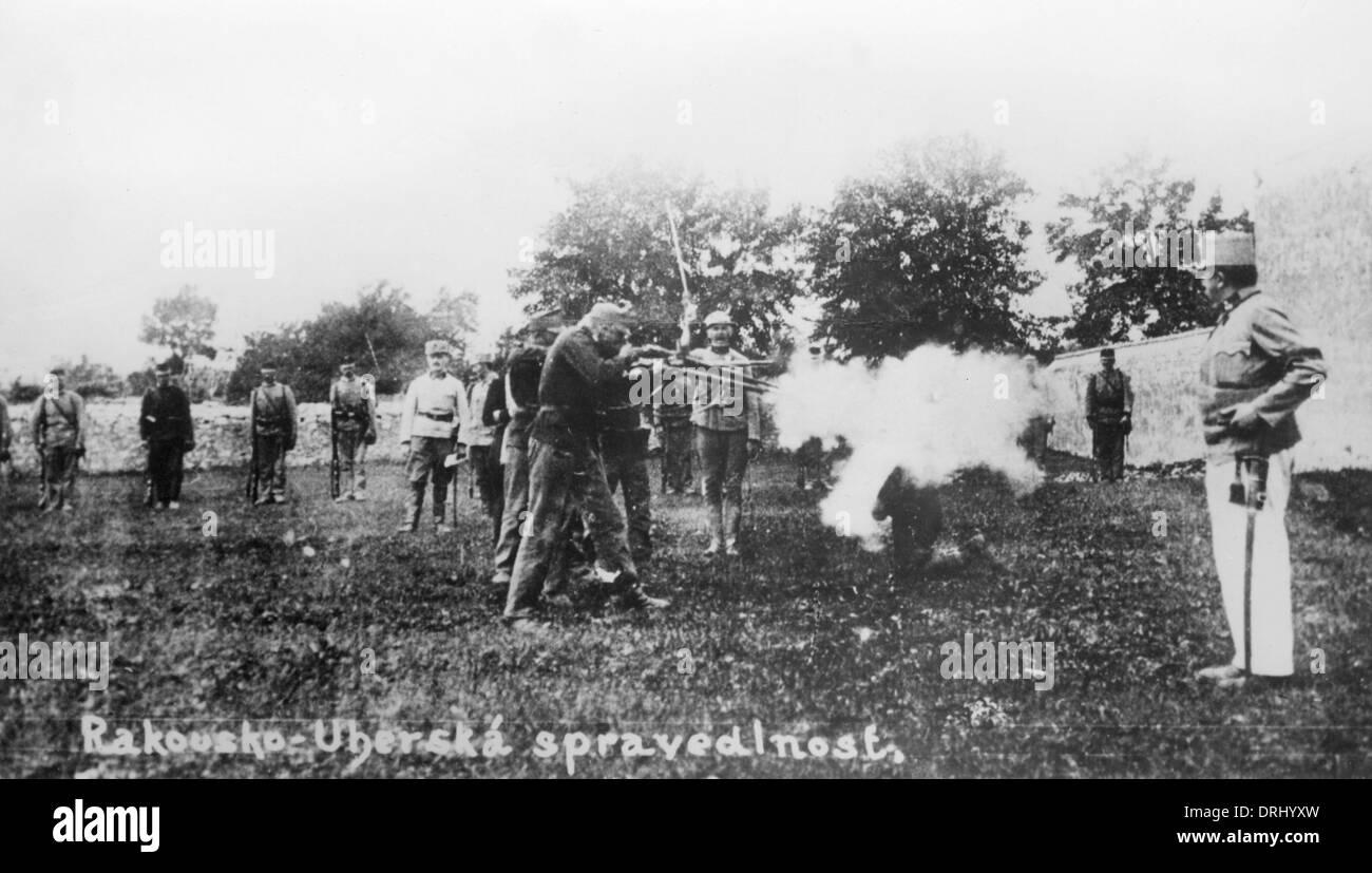 Austro-Hungarian firing squad, WW1 Stock Photo