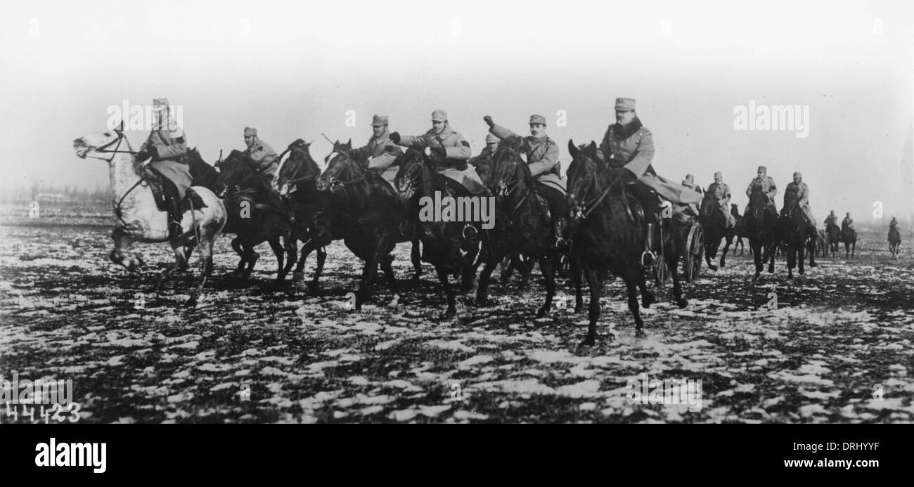Austro-Hungarian cavalry in action, WW1 - Stock Image