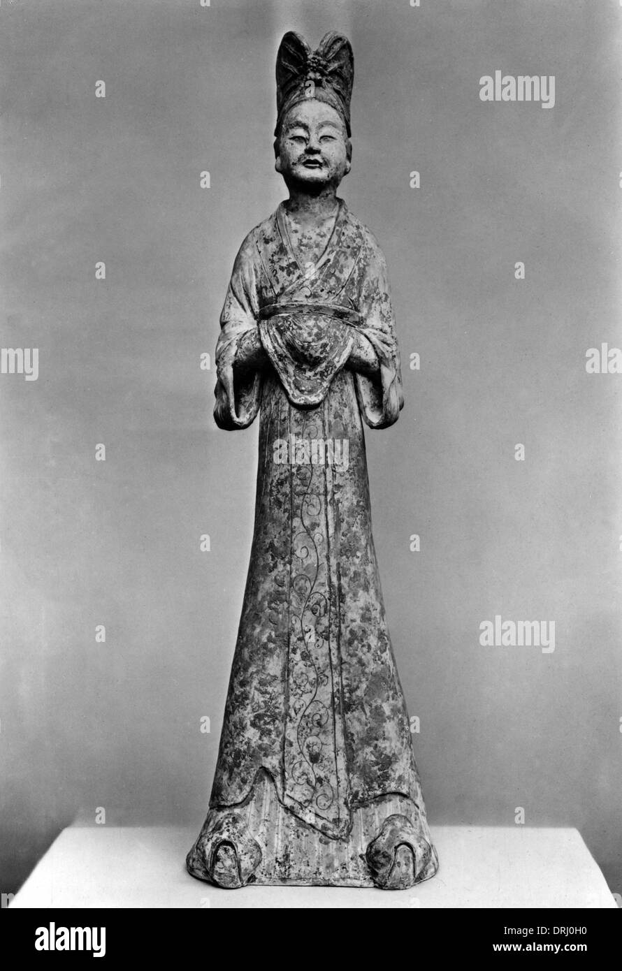 Chinese Tang Dynasty Pottery Tomb Figure of a Lady - Stock Image