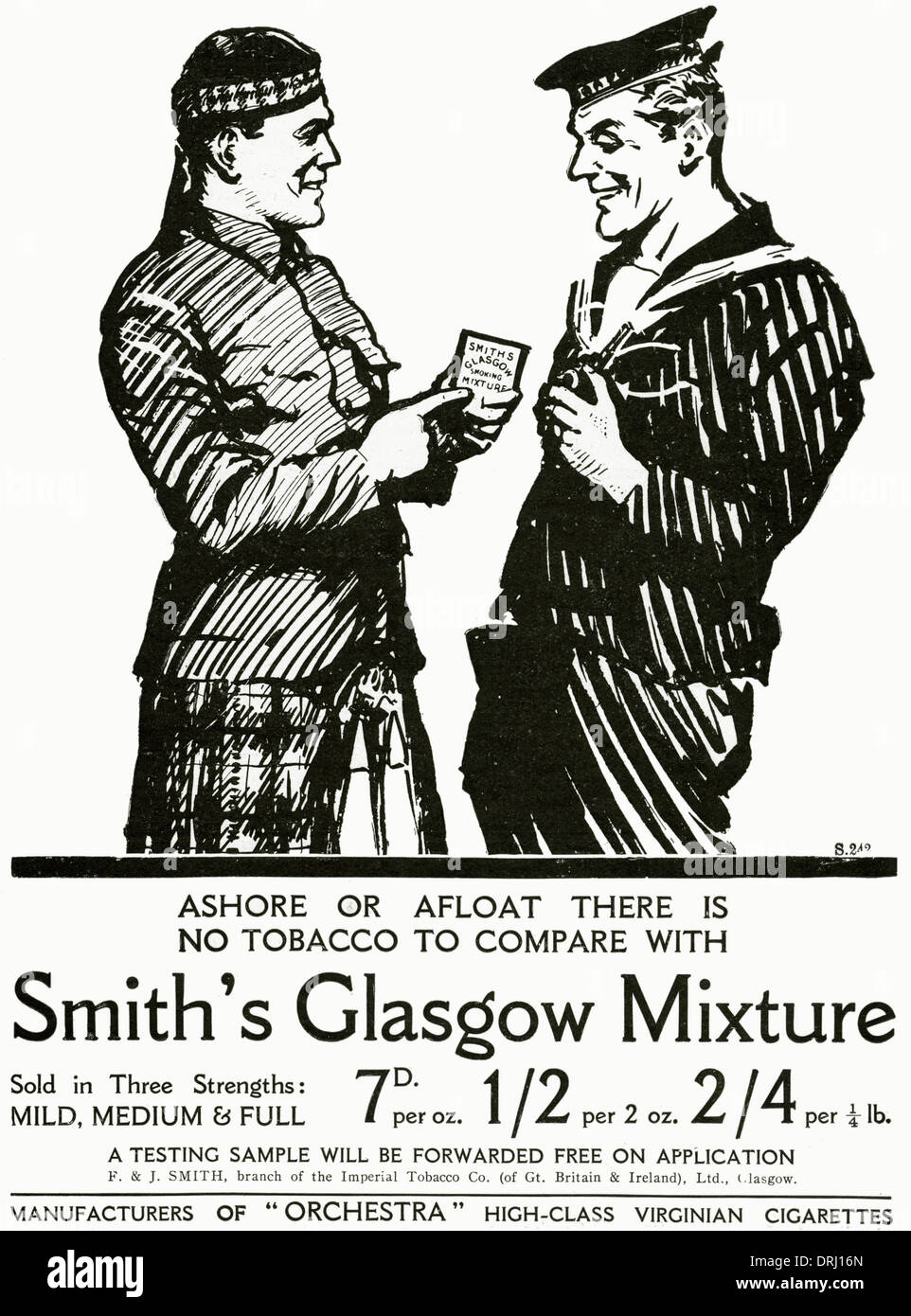 Advert for Smith's Glasgow Mixture Tobacco 1915 - Stock Image