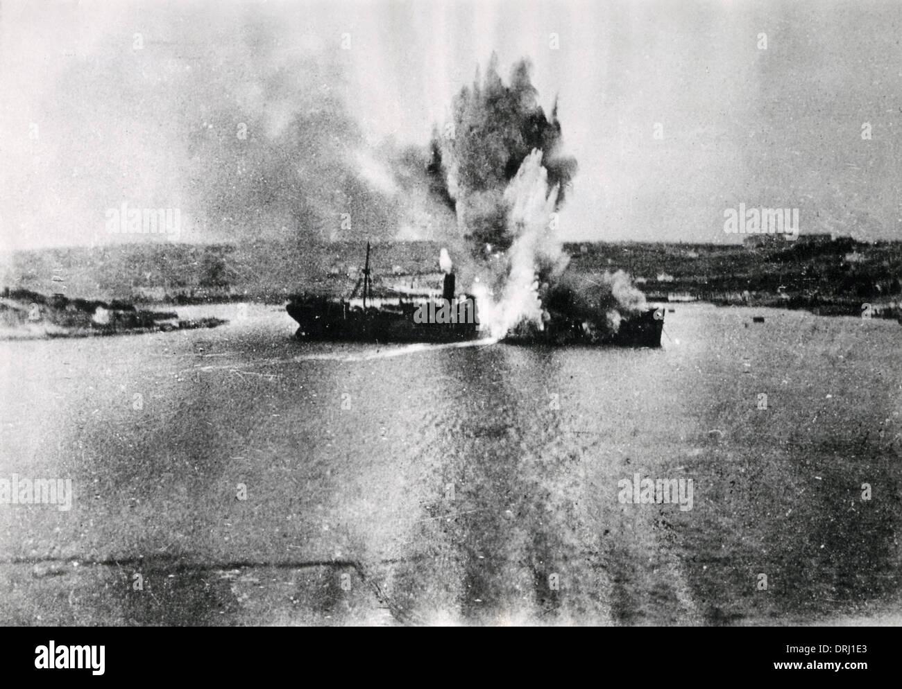 Ship struck by torpedo, Salonika, WW1 - Stock Image