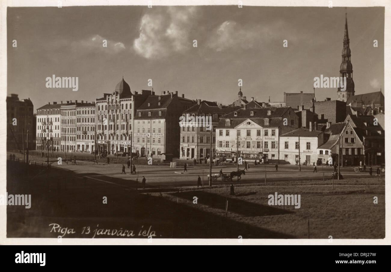 View of 13 Janvara Iela in Riga, Latvia - Stock Image