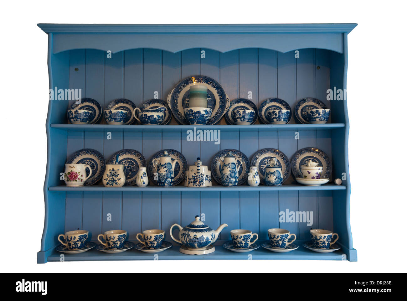 Wooden Wall Display Unit With Blue and White Crockery - Stock Image