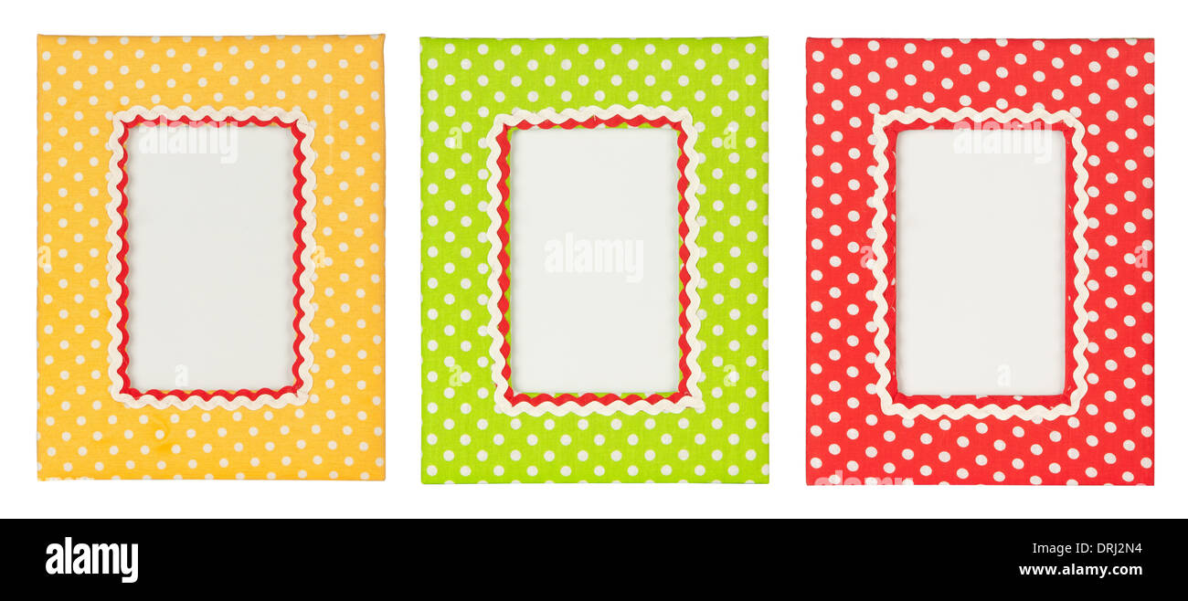 colored polka dots frames isolated on white background Stock Photo ...